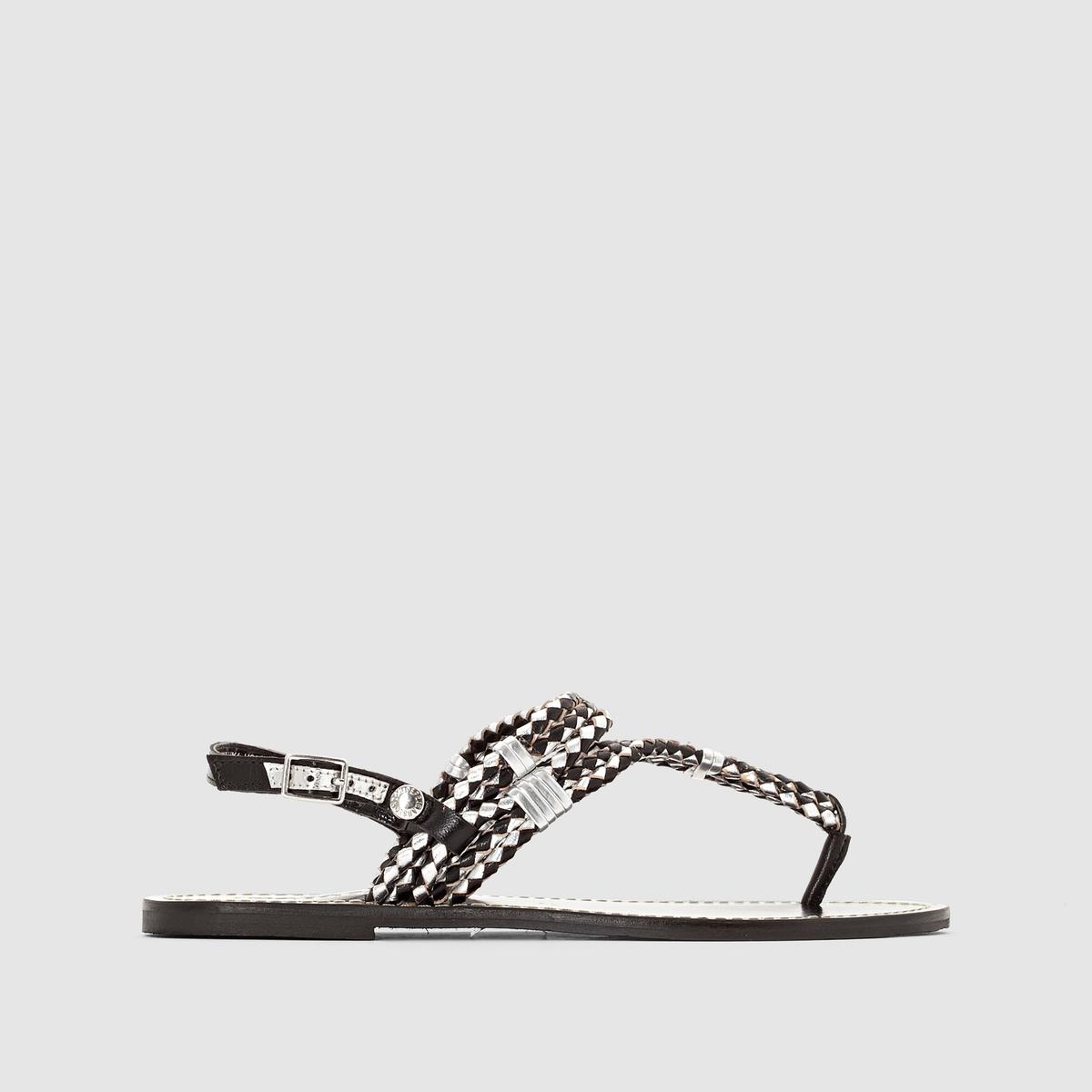 Сандалии из кожи PEPE JEANS JANE WOVEN METALLICУдачное сочетание ремешков и металлических вставок, сверхэлегантный  дизайн : даже простые сандалии Pepe Jeans превращает в модную обувь в стиле рок !<br><br>Цвет: черный<br>Размер: 36.38