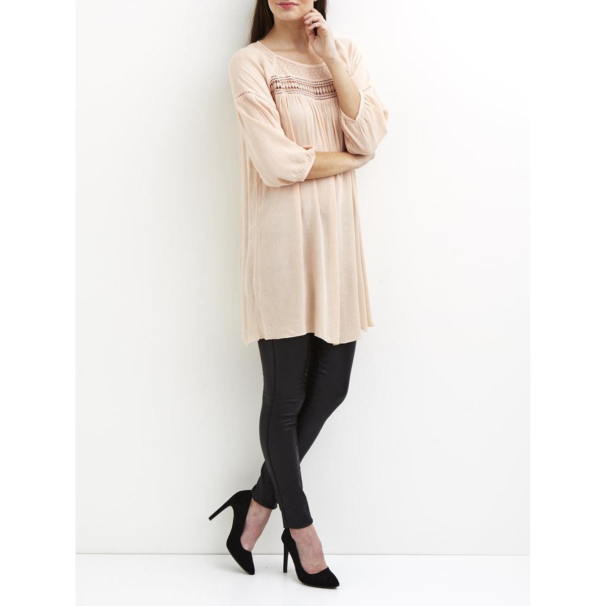 Платье с рукавами 3/4, из вуали, с вышивкой гладью, VILA VIGURLA TUNICСостав и описание :Материал : 100% вискозыМарка : VILA<br><br>Цвет: розовый<br>Размер: XS