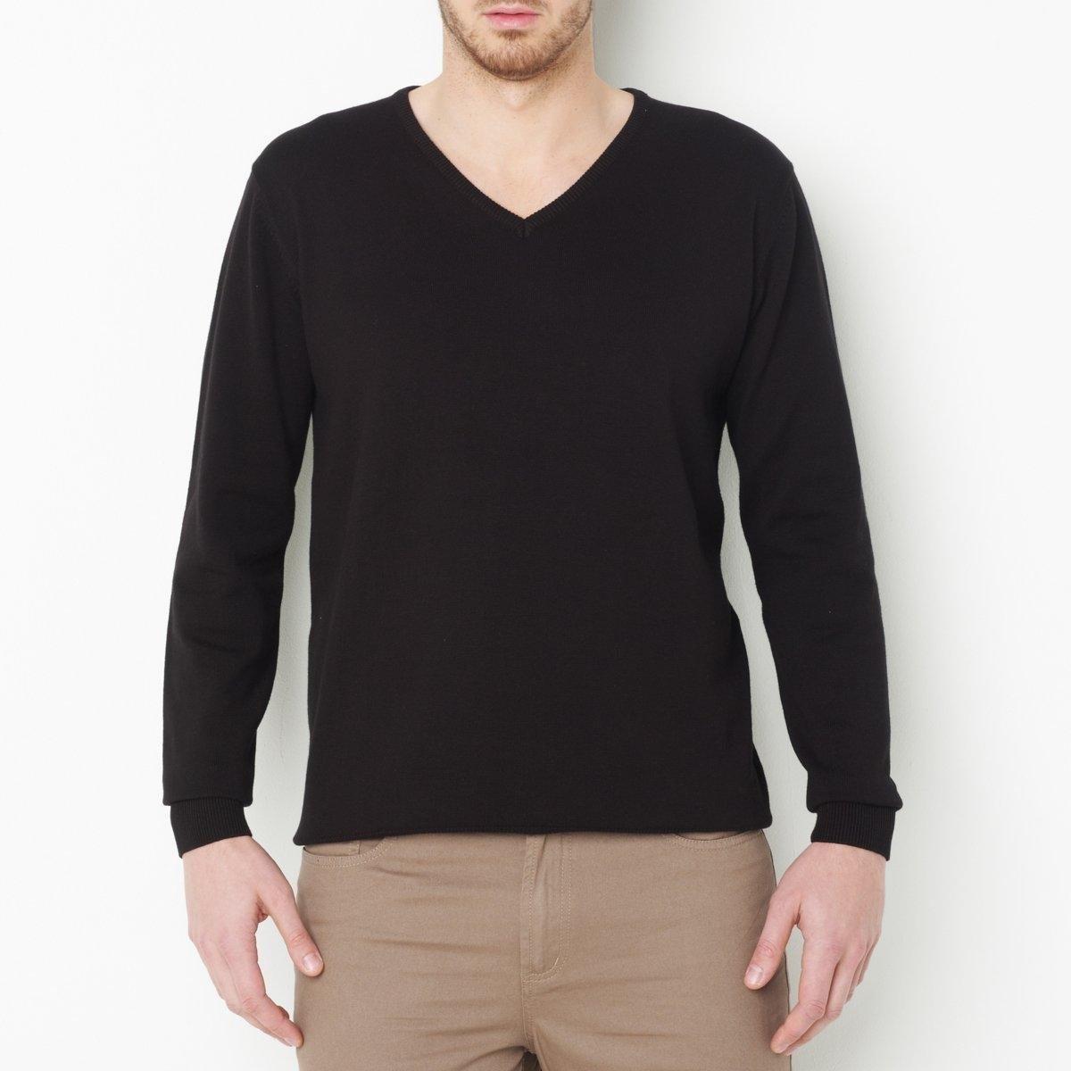 купить Пуловер большого размера с V-образным вырезом из тонкого трикотажа по цене 1899.5 рублей