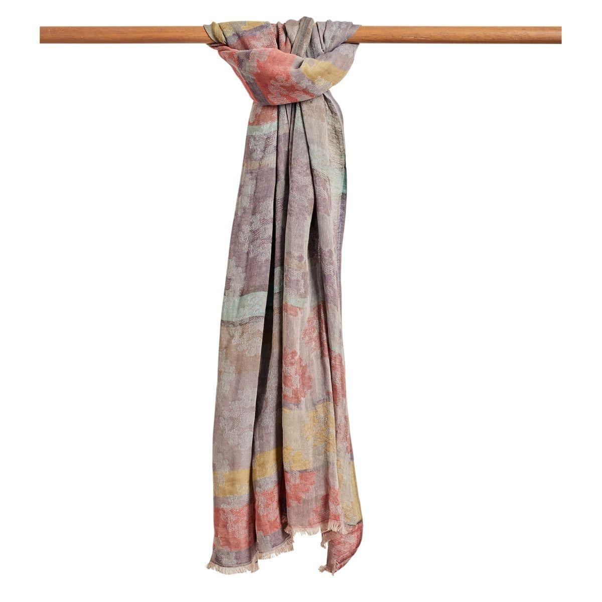 Foulard en jacquard à imprimé fleuri pur coton multicolore, 1size