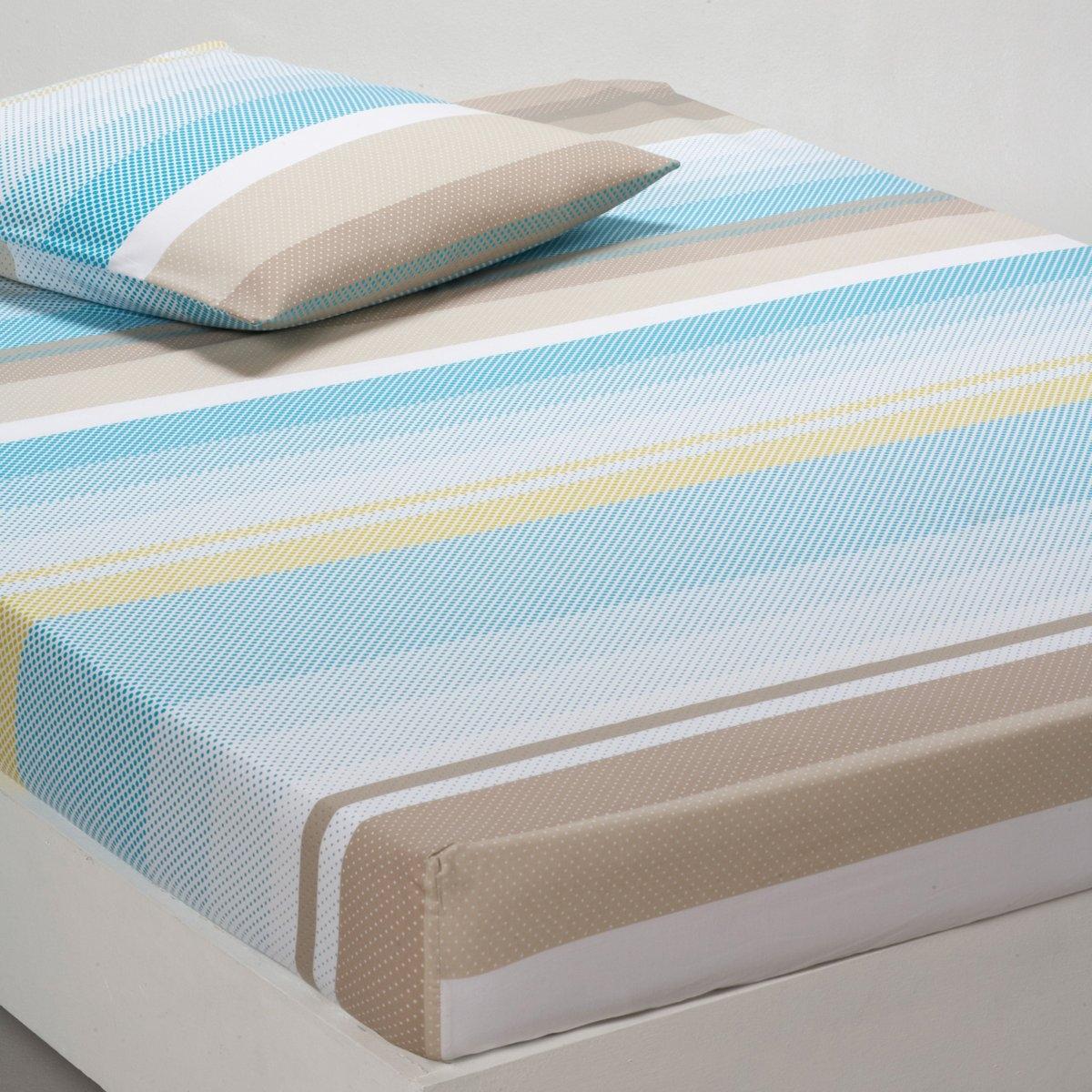 Натяжная простыня УвиаКачество VALEUR S?RE за качественный материал с плотным переплетением нитей (57 нитей/см?). Красивое сочетание цветов и пиксельный рисунок! 100% хлопка. Стирка при 60°. Цвет: синий. Размеры:  90 x 190 см : 1-сп. 140 x 190 см : 2-сп. 160 x 200 см : 2-сп.<br><br>Цвет: синий/серый/анис/белый