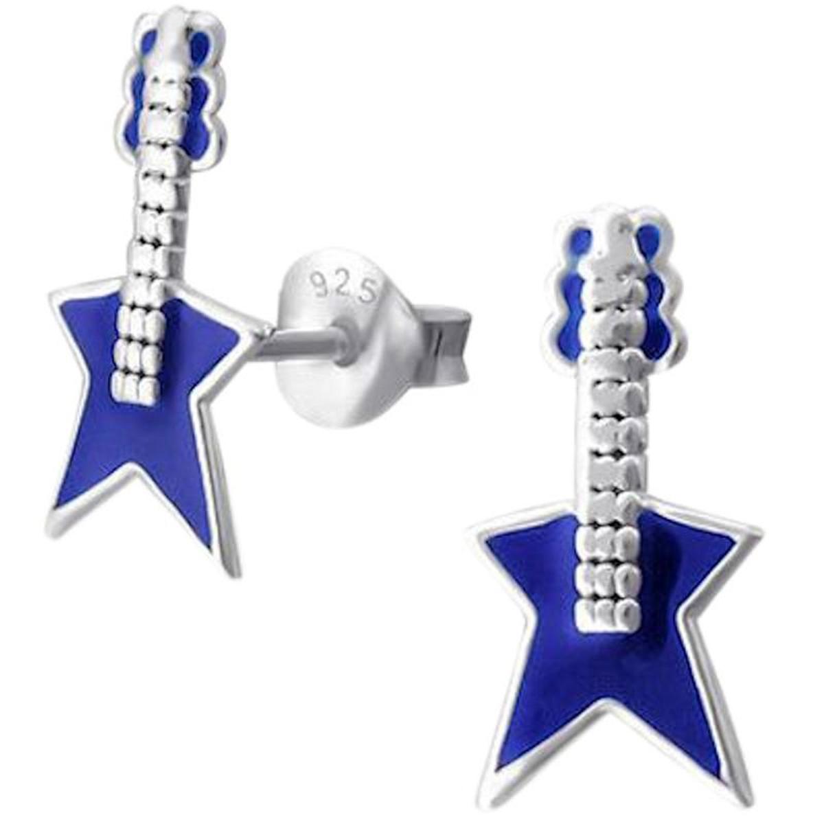 Boucles d'oreilles Guitare Electrique Rock'N Roll Chanteur Musique Super Star Bleu Argent 925