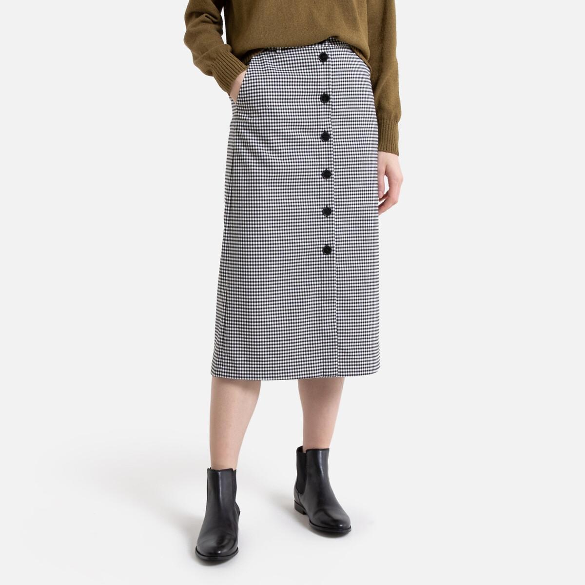 Falda recta con botones, estampado cuadros vichy