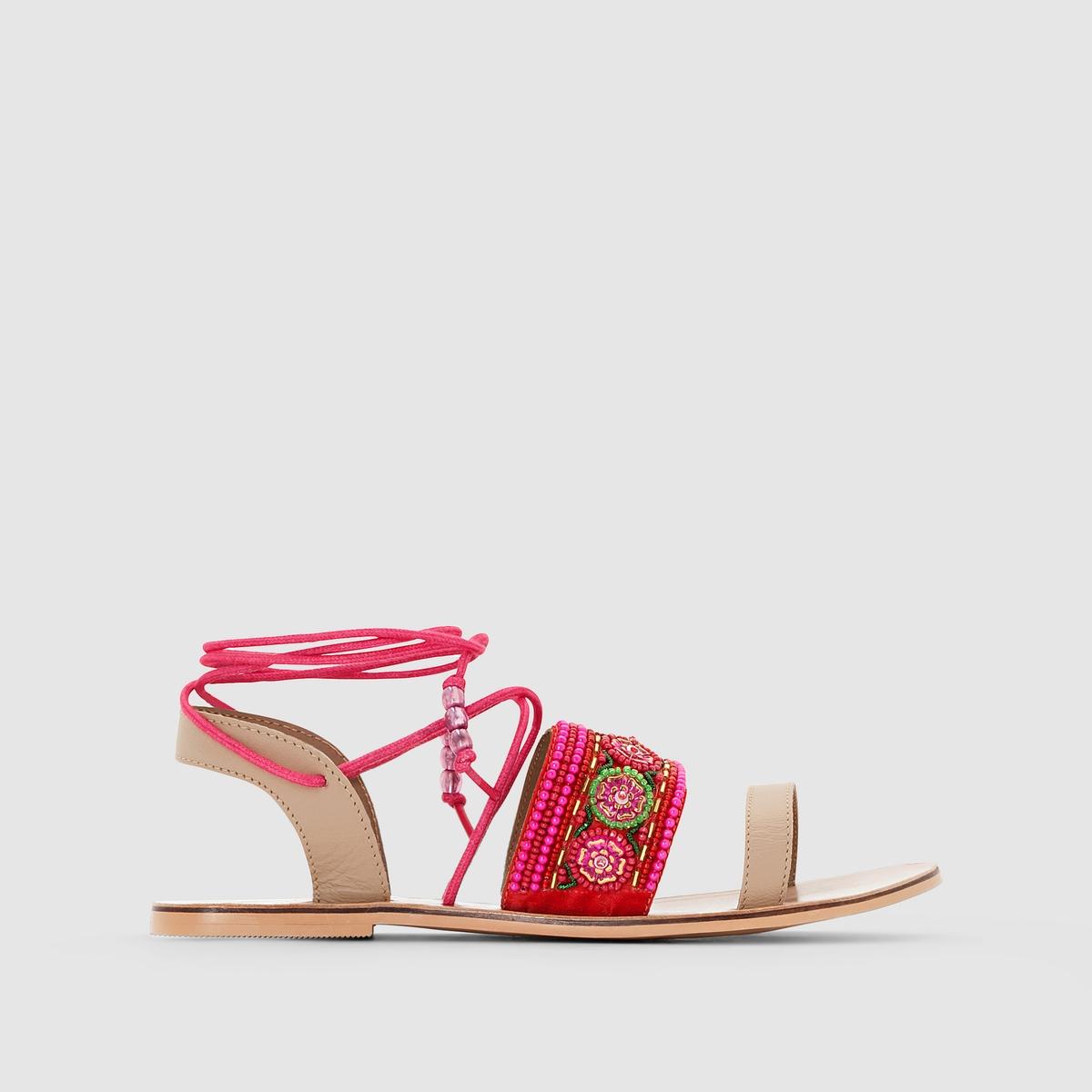Сандалии на плоской подошве, с бусинами MADEMOISELLE RПреимущества : MADEMOISELLE R представляет вашему вниманию великолепные сандалии на завязках с разноцветными бусинами. Сандалии, которые носят, как украшение.<br><br>Цвет: розовый<br>Размер: 38.40.37.36