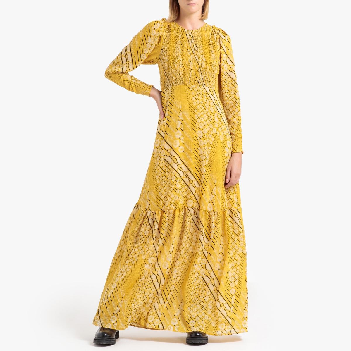 цена Платье La Redoute Длинное с рисунком и длинными рукавами OLLIE 2(M) каштановый онлайн в 2017 году