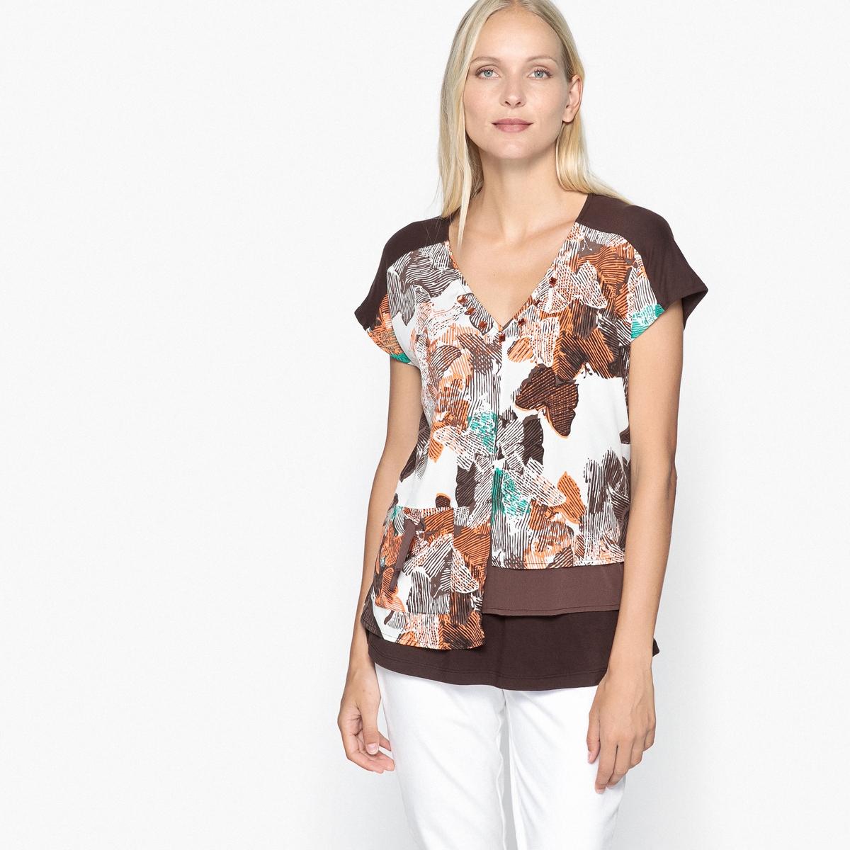 Блузка с рисунком, V-образным вырезом и короткими рукавамиОписание:Очень женственная блузка с рисунком из двух материалов. Элегантная и модная блузка с V-образным вырезом, украшенным кабошонами. Детали •  Короткие рукава •   V-образный вырез •  Рисунок-принтСостав и уход •  95% вискозы, 5% эластана •  Температура стирки 30° на деликатном режиме   •  Сухая чистка и отбеливатели запрещены •  Не использовать барабанную сушку •  Низкая температура глажки •  Асимметричные полочки и отрезные детали •  Передняя часть из  100% полиэстера •  Карман на завязках с люверсами и на трикотажной подкладке •  Длина  : 65 см<br><br>Цвет: рисунок/фон экрю