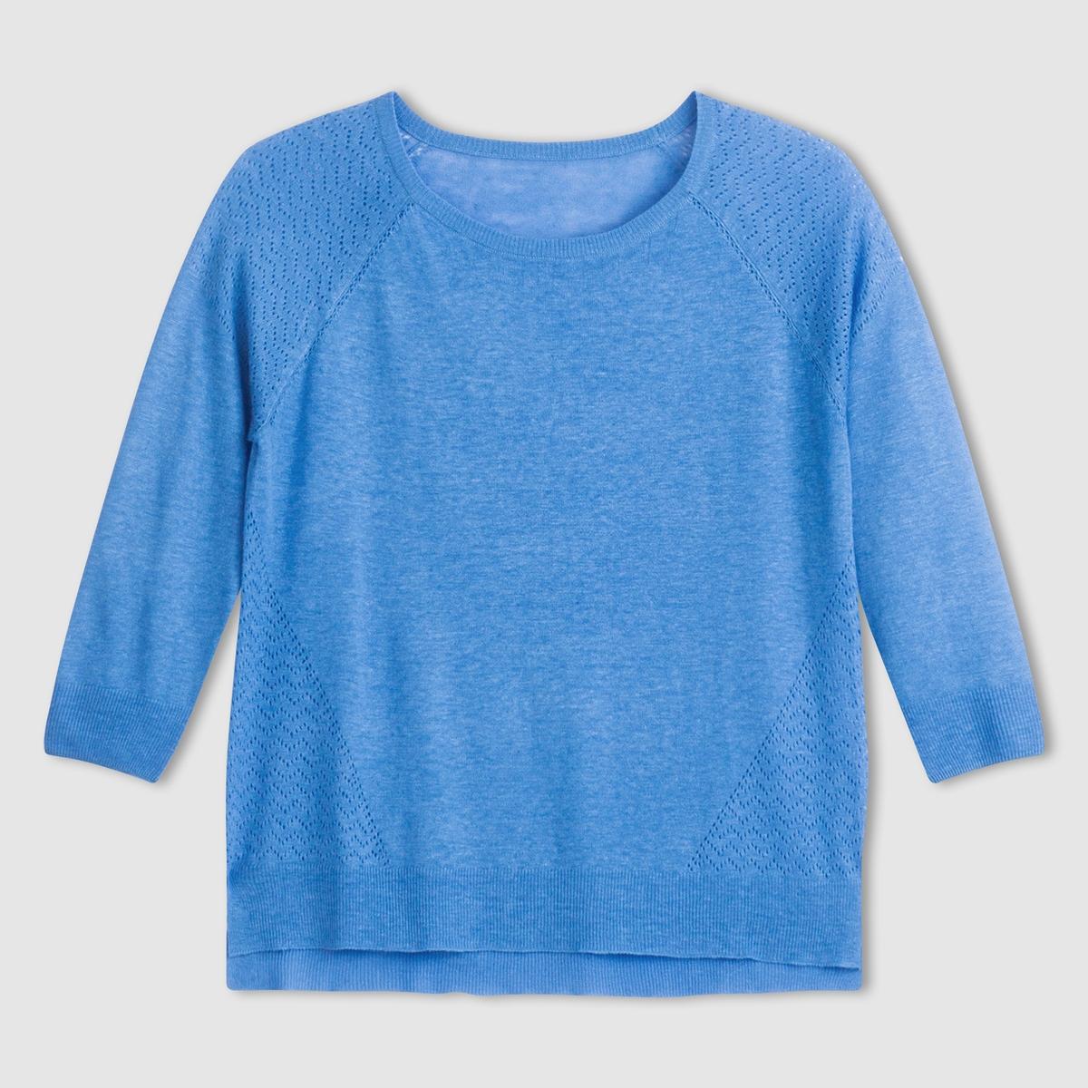 Пуловер из льна и вискозы
