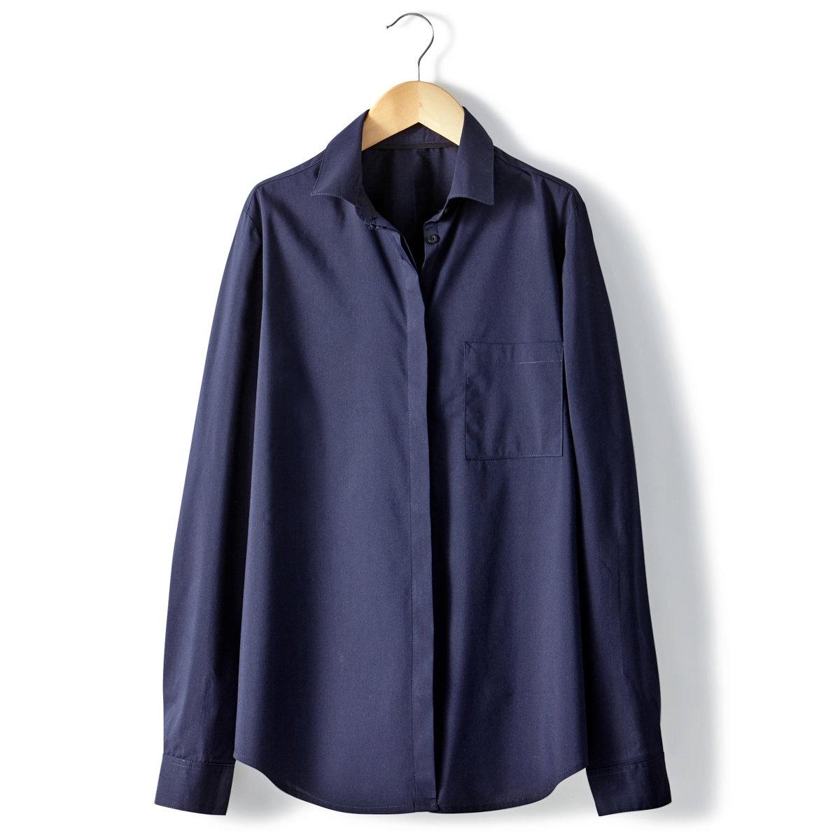 Рубашка однотонная из хлопкового поплина стрейч. Длинные рукава.Рубашка прямого покроя . Однотонный поплин стрейч 69% хлопка, 28% полиамида, 3% эластана. Длинные рукава, манжеты с пуговицами . Накладной нагрудный карман . Закругленный низ . Длина ок.70 см .<br><br>Цвет: синий<br>Размер: 36 (FR) - 42 (RUS)
