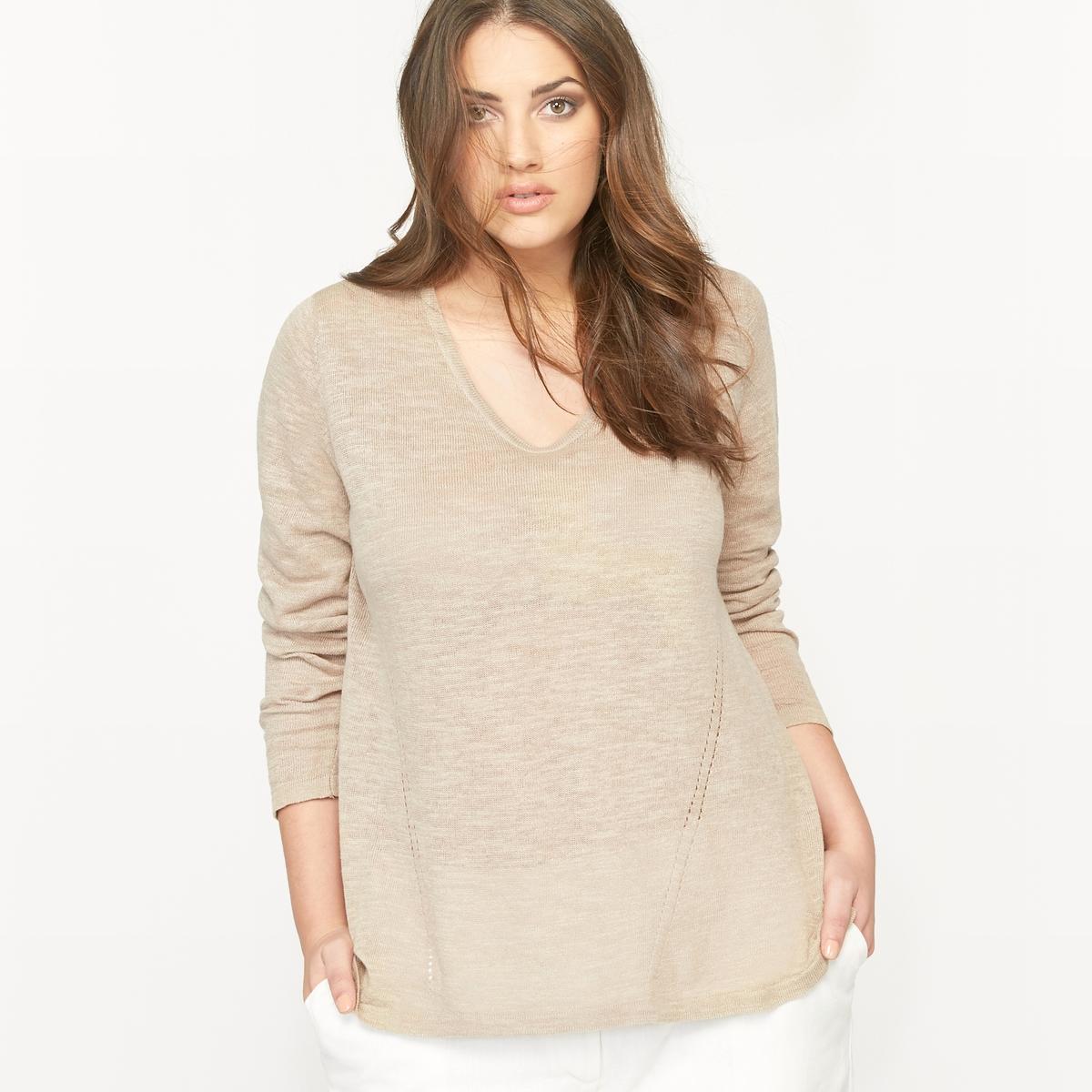 Пуловер с круглым вырезом из льна и хлопка  пуловер с круглым вырезом из хлопка и льна