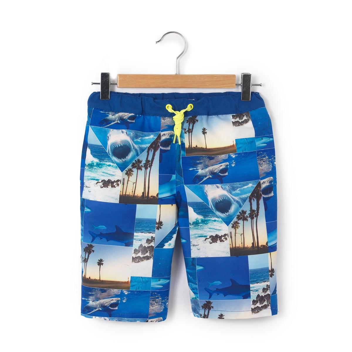 Шорты пляжные темно-синего цвета с рисунком, 8-14 лет
