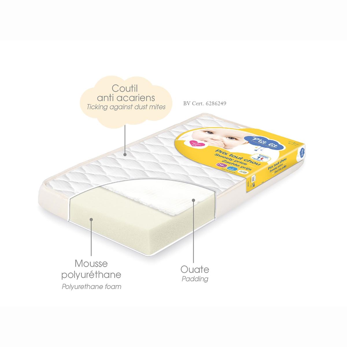 Матраса детский TOUT CHOU - P'TIT LITМатрас TOUT CHOU P'TIT LIT дарит максимальный комфорт по привлекательной цене .Характеристики матраса TOUT CHOU P'TIT LIT              Наполнитель из полиуретана 18кг/м3.Характеристики         Ткань тик 39% полипропилена, 61% полиэстера       Ткань с обработкой против клещей и плесени  Биоцидная обработка       Разм. : 60 x 120, толщина 10 см и 70 x 140, толщина 10 см<br><br>Цвет: белый
