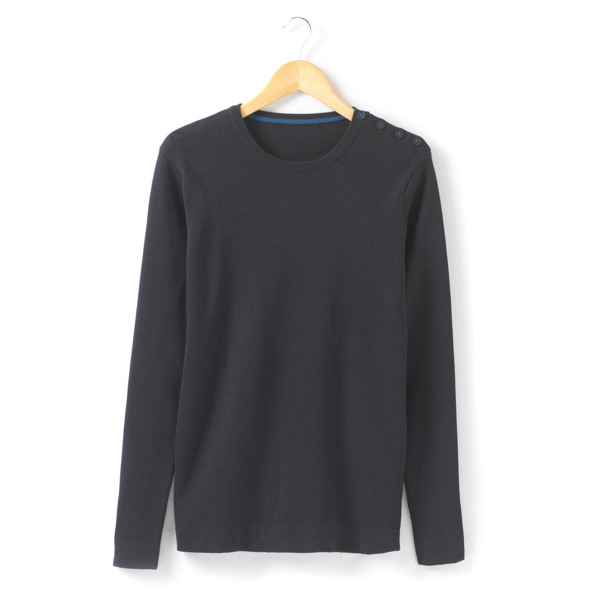 Пуловер с круглым вырезомПуловер с круглым вырезом. 100% хлопка. Застежка-планка на пуговицы на плече. Длинные рукава. Длина 68 см.<br><br>Цвет: синий морской<br>Размер: S
