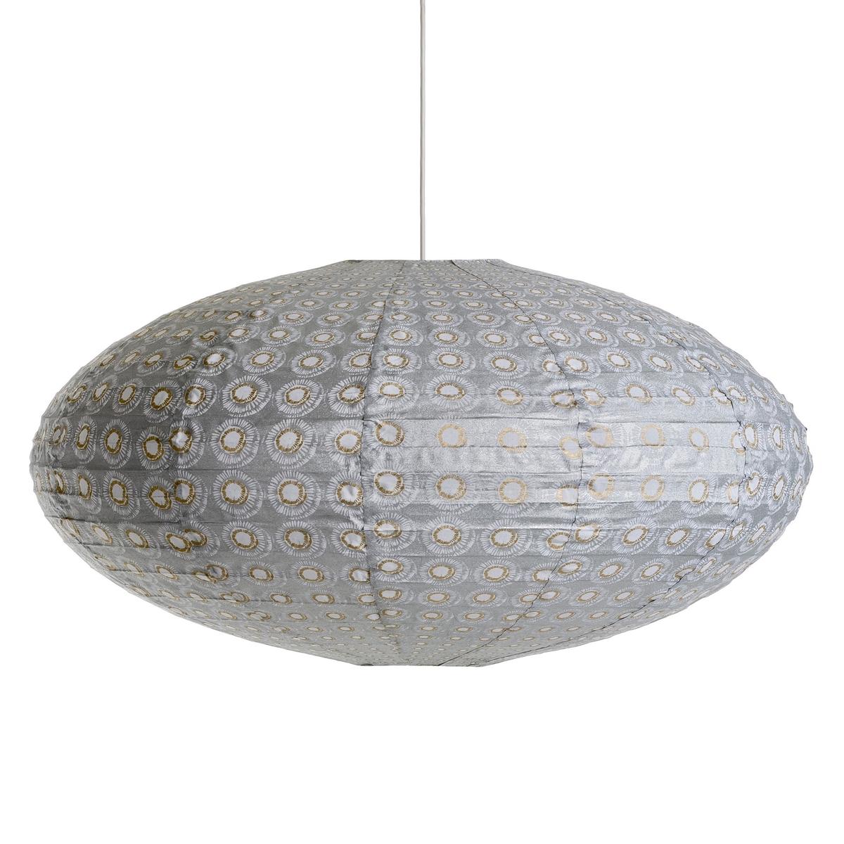 Светильник подвесной Sidy с принтомХарактеристики :- Каркас из металлических проволок, обтянутый хлопком.- Без проводки Размеры :- Диаметр.75 x Выс.40 см.<br><br>Цвет: серый/ белый