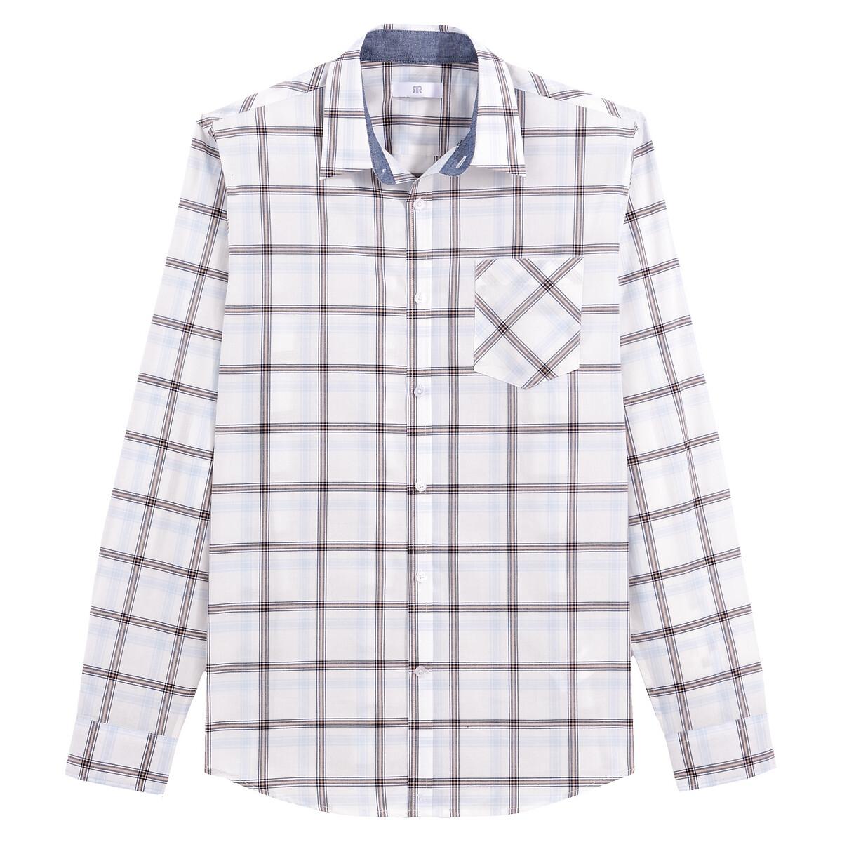 Camisa slim de manga larga con estampado a cuadros