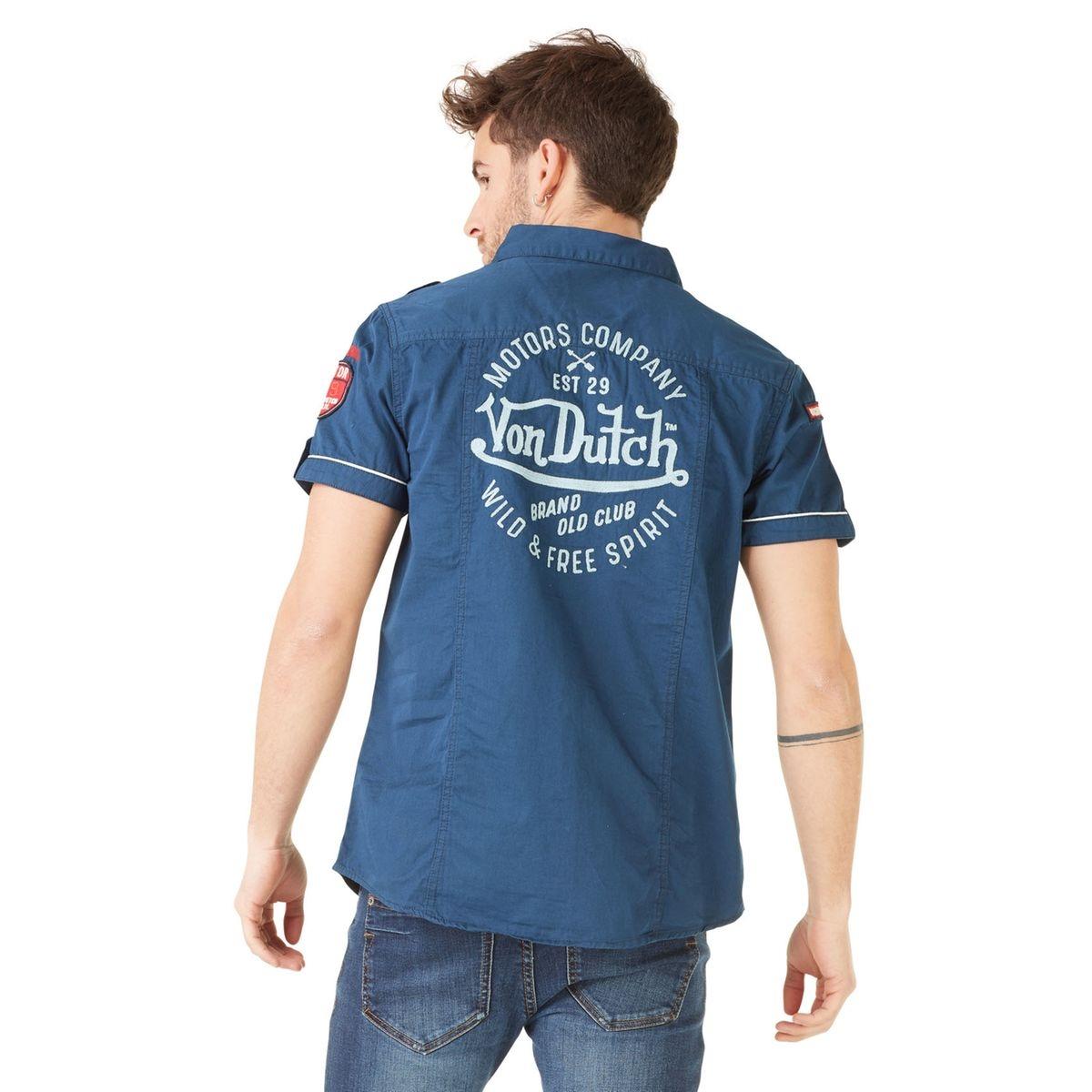 Chemise manches courtes homme Von Dutch Haro Bleu Marine