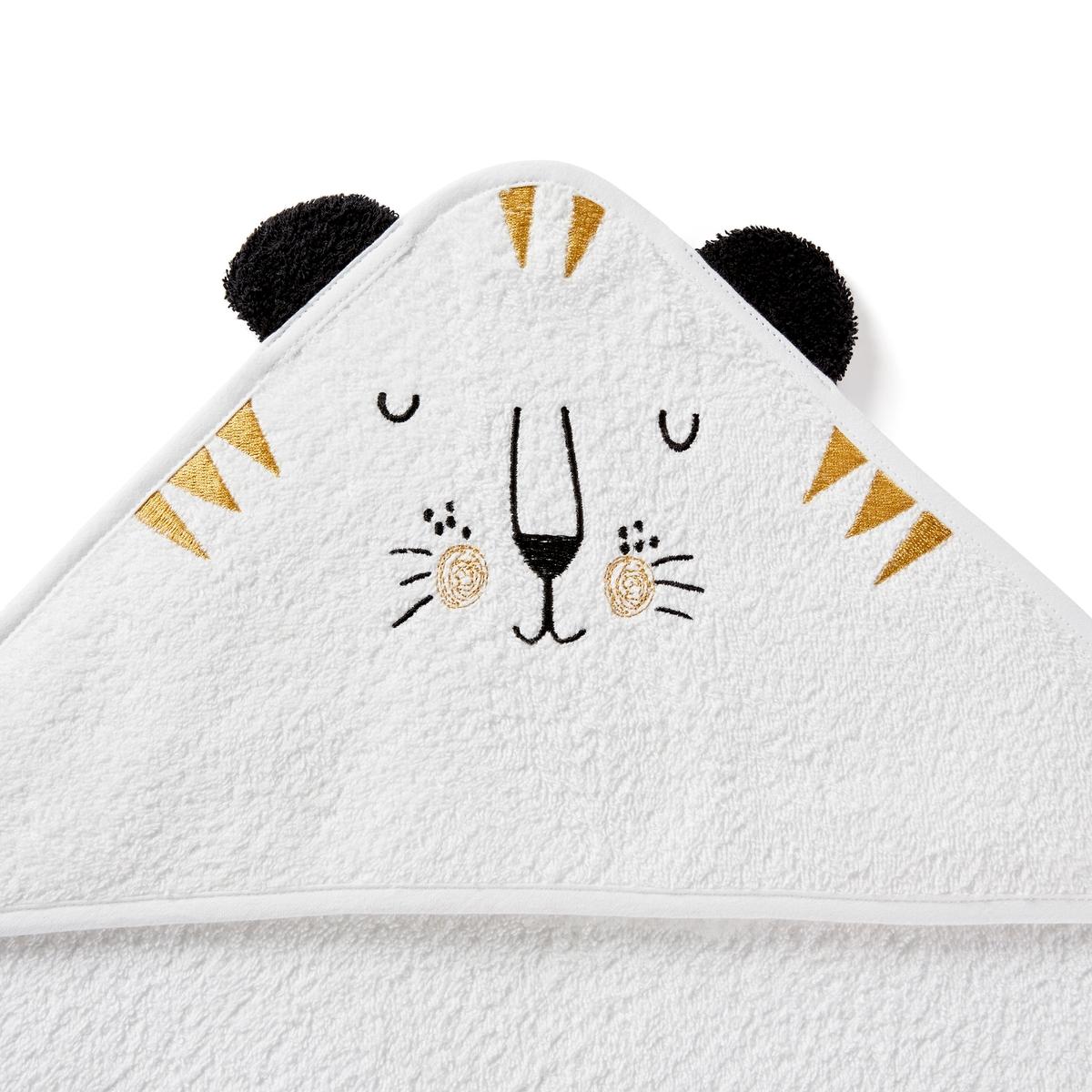 цена Накидка La Redoute Банная для новорожденного с капюшоном и вышивкой Kalou 70 x 70 см белый онлайн в 2017 году