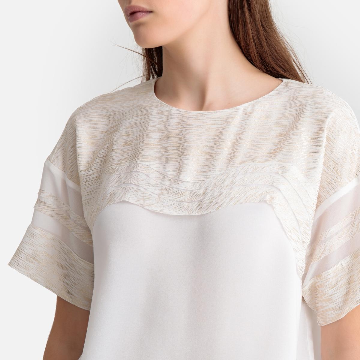 Блузка La Redoute С круглым вырезом S белый свитшот la redoute с круглым вырезом и вышивкой s черный