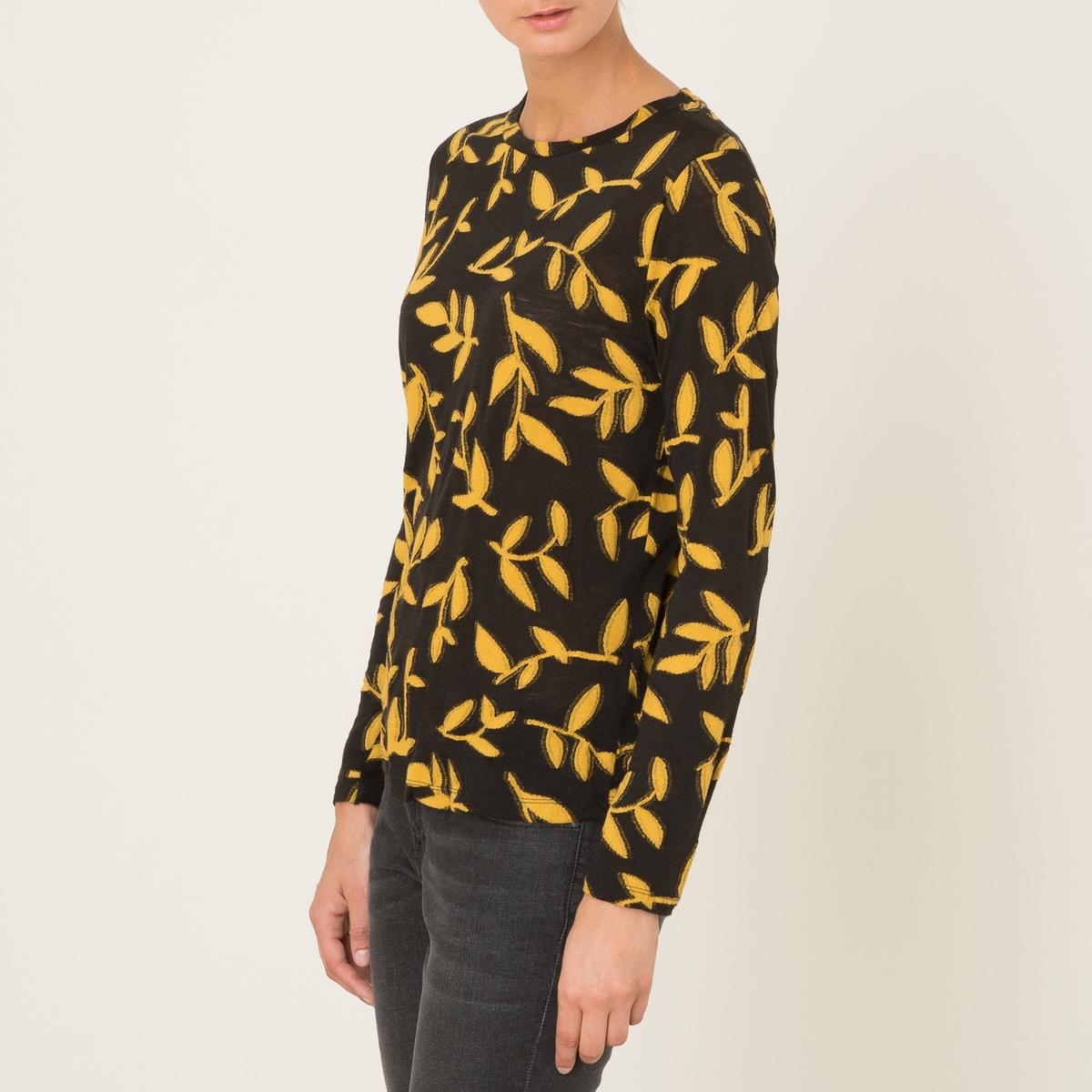 Пуловер REBECCAПуловер - модель REBECCA, из двухцветного жаккардового трикотажа. Объемный покрой. Круглый вырез. Длинные рукава. Сплошной цветочный рисунок.Состав и описание :Материал : 50% шерсти, 50% вискозыМарка : MOMONI<br><br>Цвет: черный/ желтый