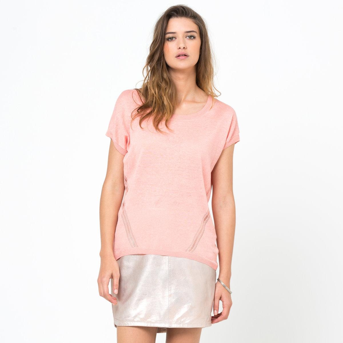 Пуловер с короткими рукавами, 100% льнаСтильная модель Soft Grey с короткими рукавами. 100% льна. Свободный квадратный покрой. Ажурные детали. Круглый вырез. Длина ок. 63 см сзади и ок. 56 см спереди.<br><br>Цвет: розовый<br>Размер: 42/44 (FR) - 48/50 (RUS)