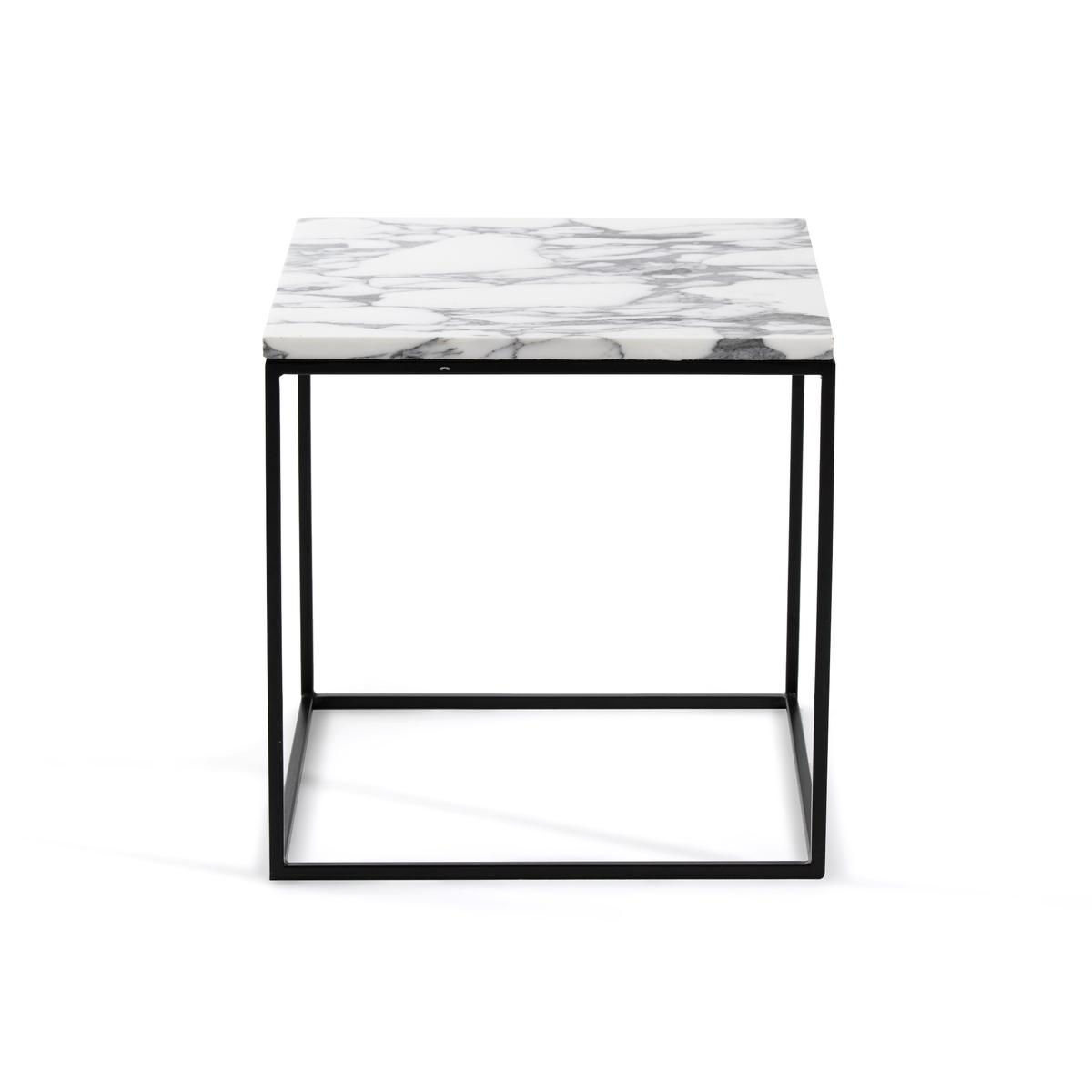 Столик La Redoute Из металла черного цвета и мрамора Mahaut единый размер белый
