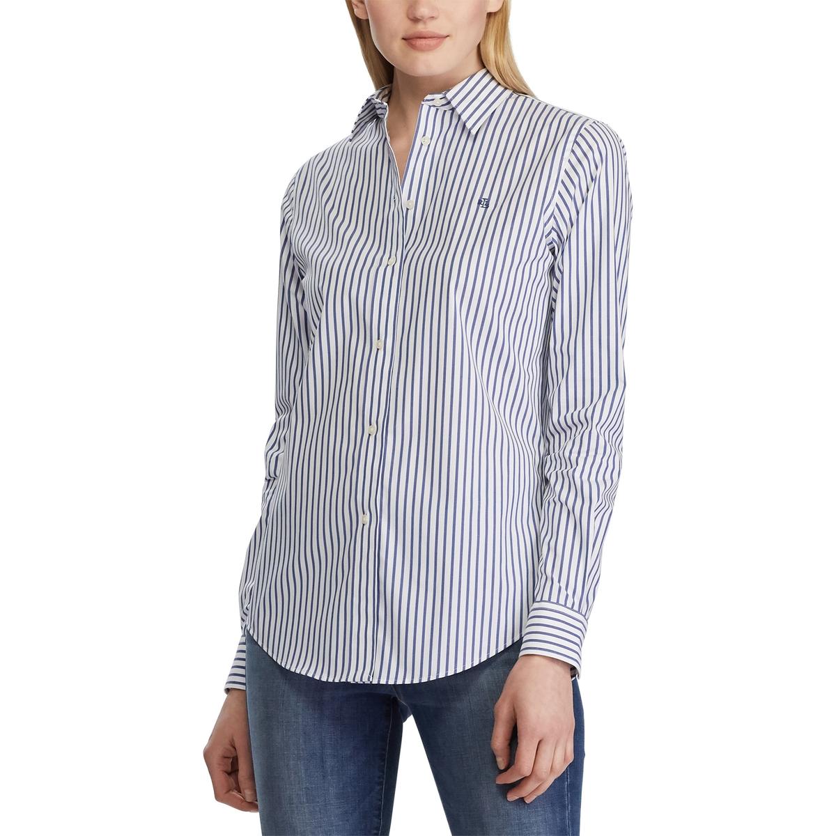 Рубашка La Redoute В полоску с длинными рукавами S синий цена 2017