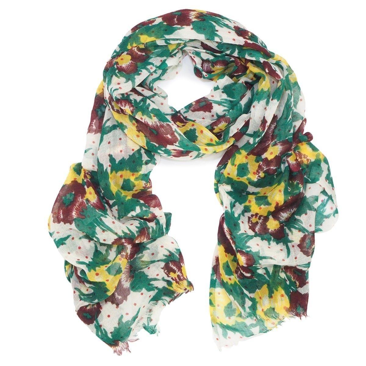 Foulard en laine fine imprime fleur