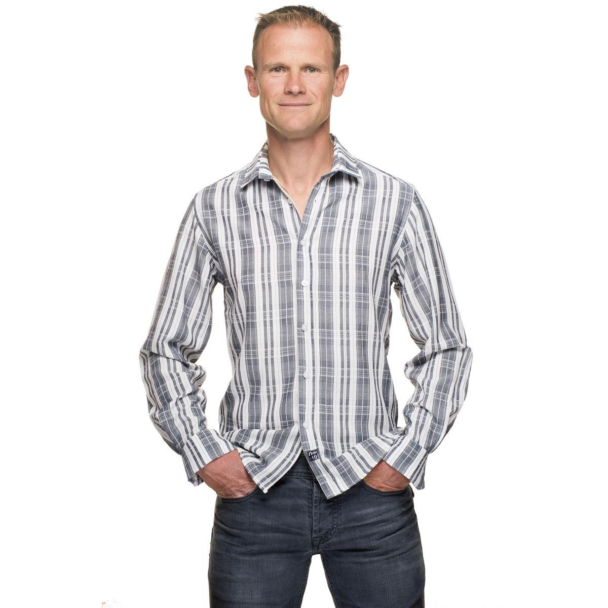 Chemise en coton stretch à carreaux manches longues