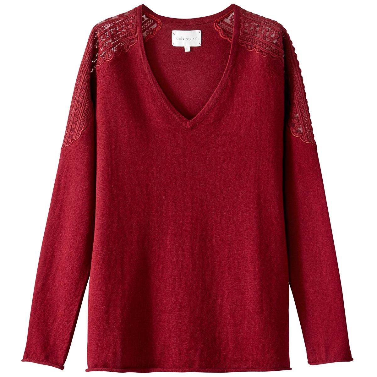 Пуловер из тонкого трикотажа с V-образным вырезомДетали •  Длинные рукава •   V-образный вырез •  Тонкий трикотаж Состав и уход •  20% шерсти, 80% хлопка •  Следуйте советам по уходу, указанным на этикетке<br><br>Цвет: бордовый<br>Размер: M