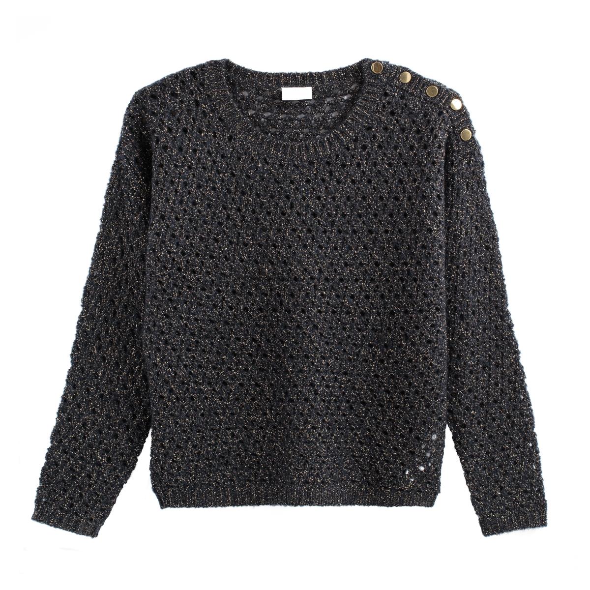 Пуловер La Redoute Ажурный с круглым вырезом с застежкой на пуговицы на плече XS синий пиджак с застежкой на пуговицы sartorio