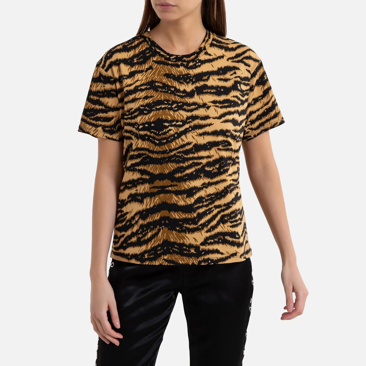 Camiseta animal print con cuello redondo de manga corta