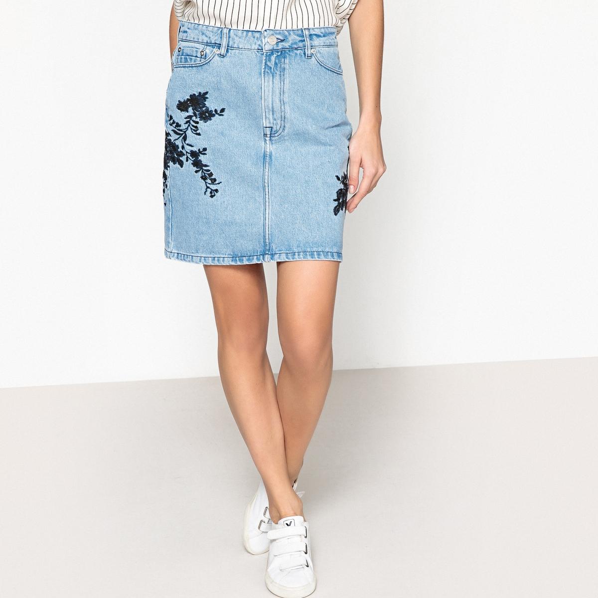 Юбка джинсовая с вышивкой PAMELA цена 2017