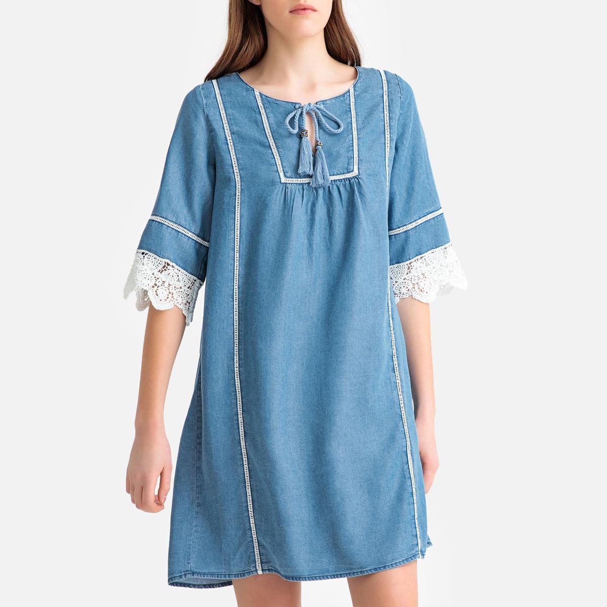 Vestido em Lyocell, mangas 3/4, acabamento bordado
