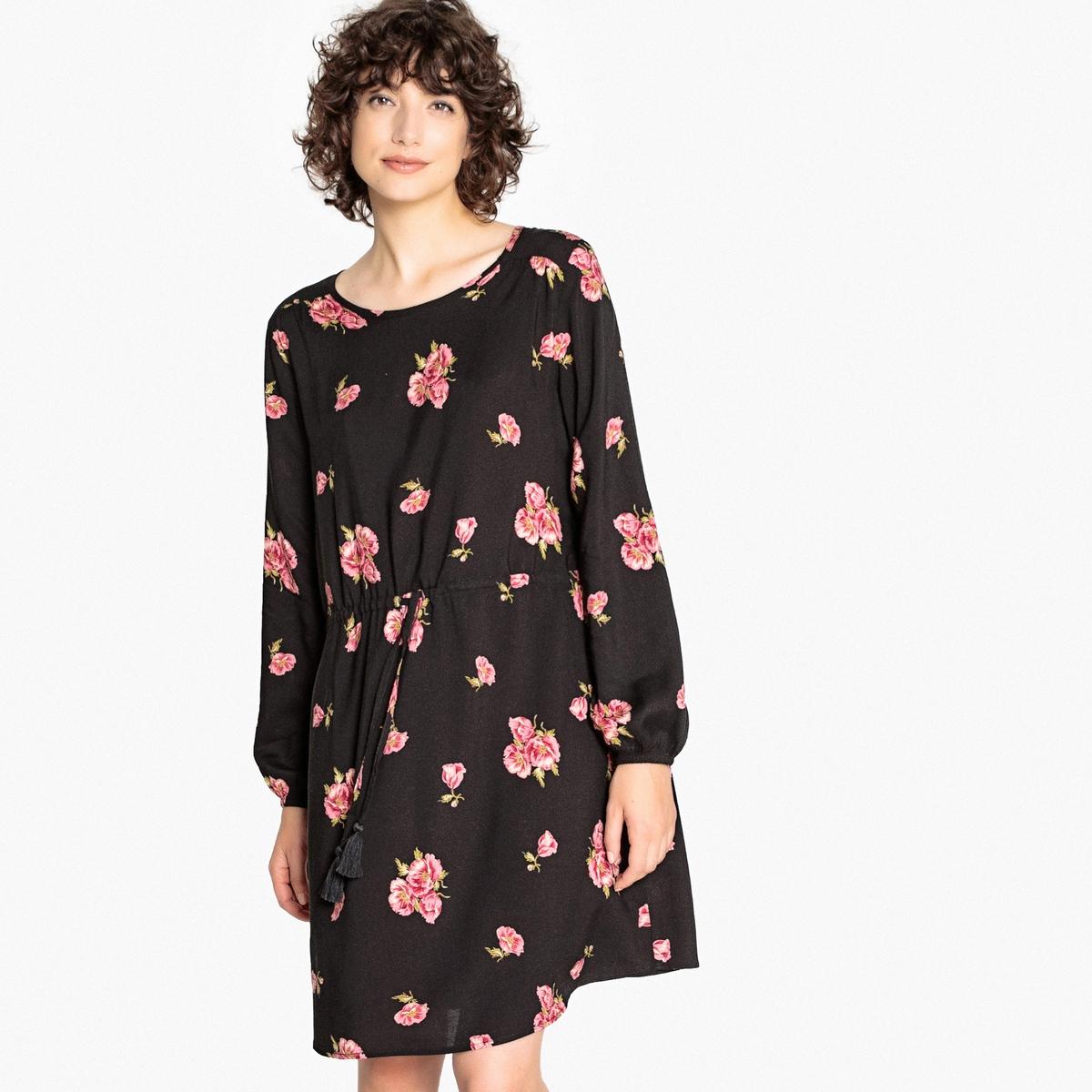 Платье расклешенное  цветочным принтом, длинные рукава
