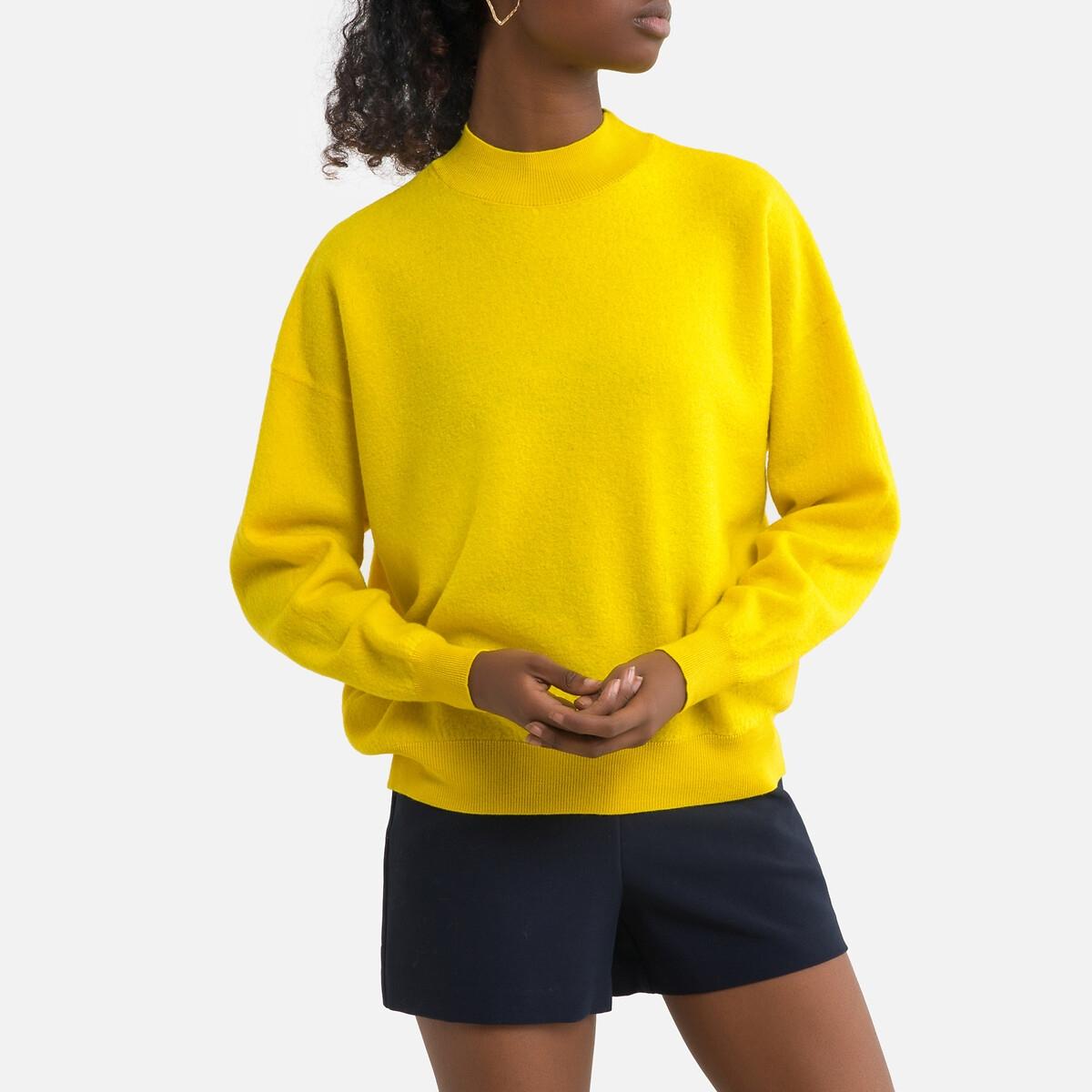 Фото - Пуловер LaRedoute Из шерсти с круглым вырезом из тонкого трикотажа TADBOW M/L желтый пуловер laredoute с воротником стойкой из ажурного трикотажа пуантель m каштановый