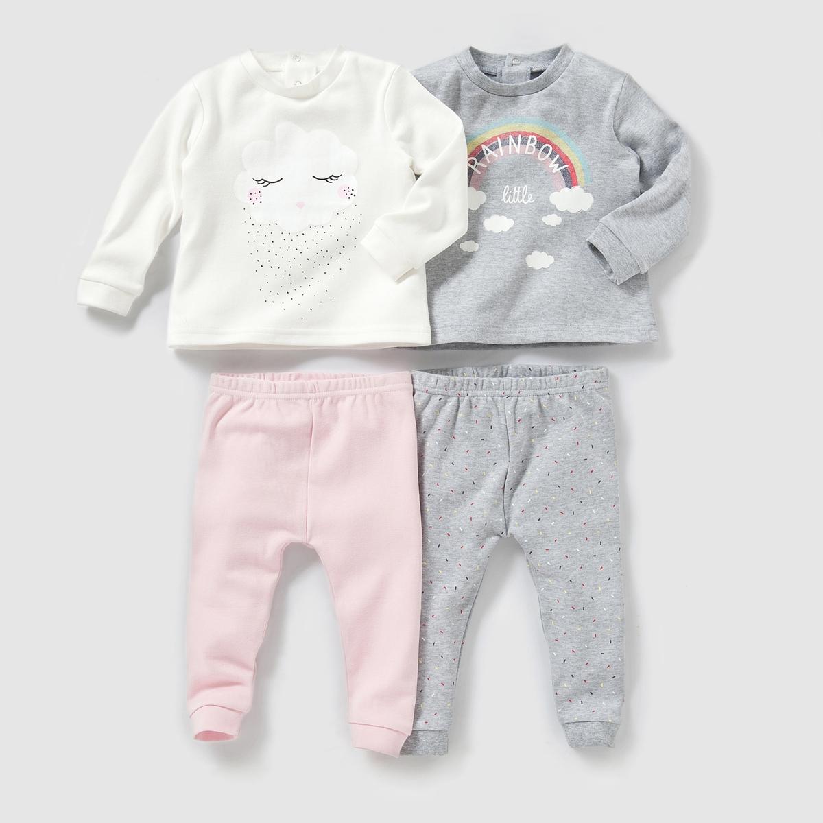 Комплект из 2 пижам раздельных из хлопка 0-3 лет от La Redoute
