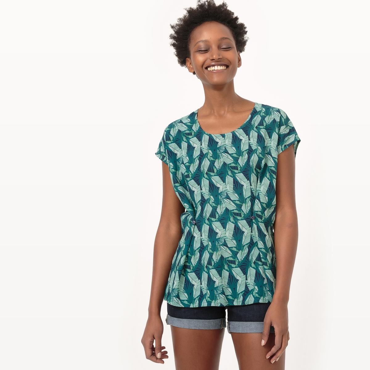 Блузка струящаяся с рисунком листья из вискозы