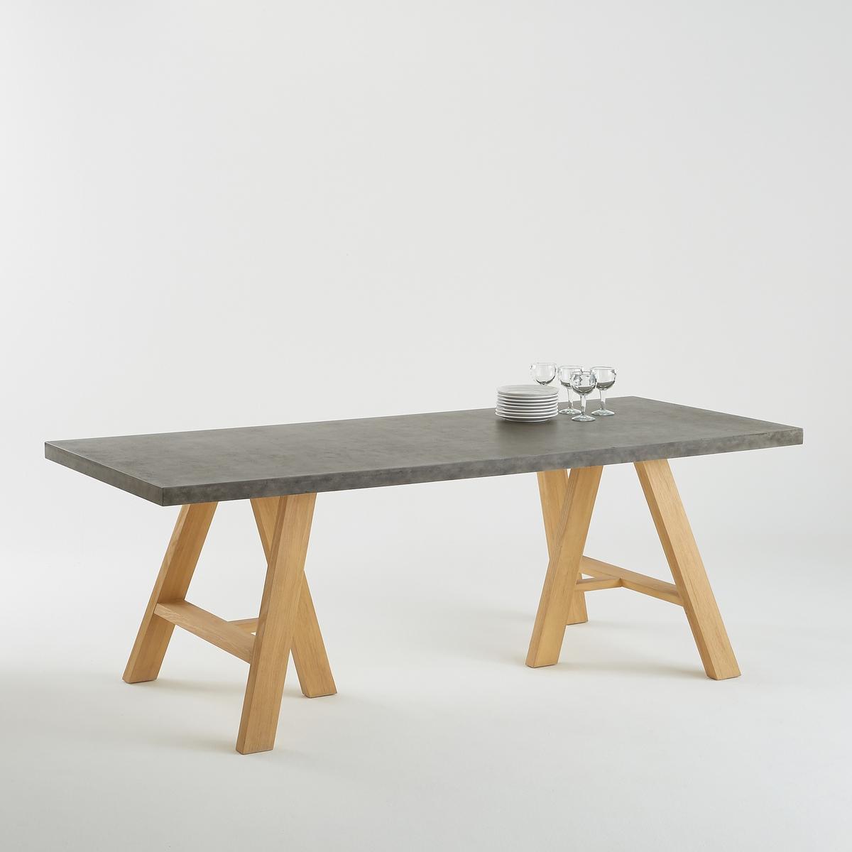 Стол La Redoute На персон столешница с эффектом под бетон CONCRITE 8 персоны серый