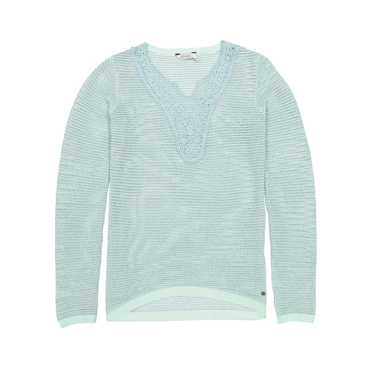 Пуловер с круглым вырезом из хлопкаДетали   •  Пуловер классический •  Длинные рукава •  Круглый вырез •  Тонкий трикотажСостав и уход   •  84% хлопка, 6% металлизированных волокон, 10% полиэстера •  Следуйте рекомендациям по уходу, указанным на этикетке изделия<br><br>Цвет: зеленый сине-зеленый<br>Размер: XS