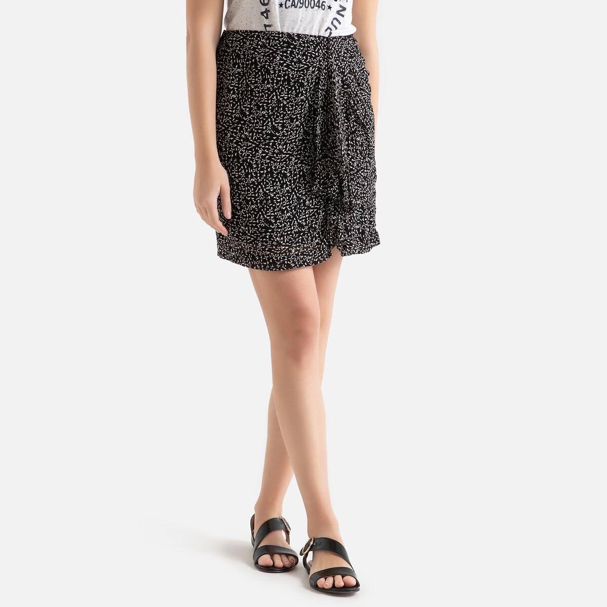 Юбка La Redoute Короткая с рисунком 40 (FR) - 46 (RUS) черный юбка la redoute короткая прямая из ткани с пропиткой 40 fr 46 rus черный