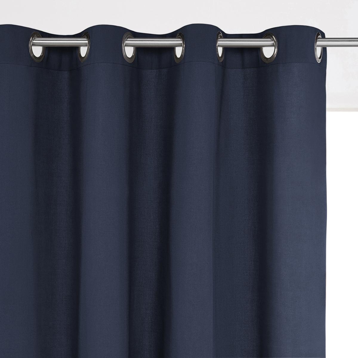 Штора La Redoute С люверсами из хлопка SCENARIO 350 x 135 см синий штора двухцветная с люверсами 100
