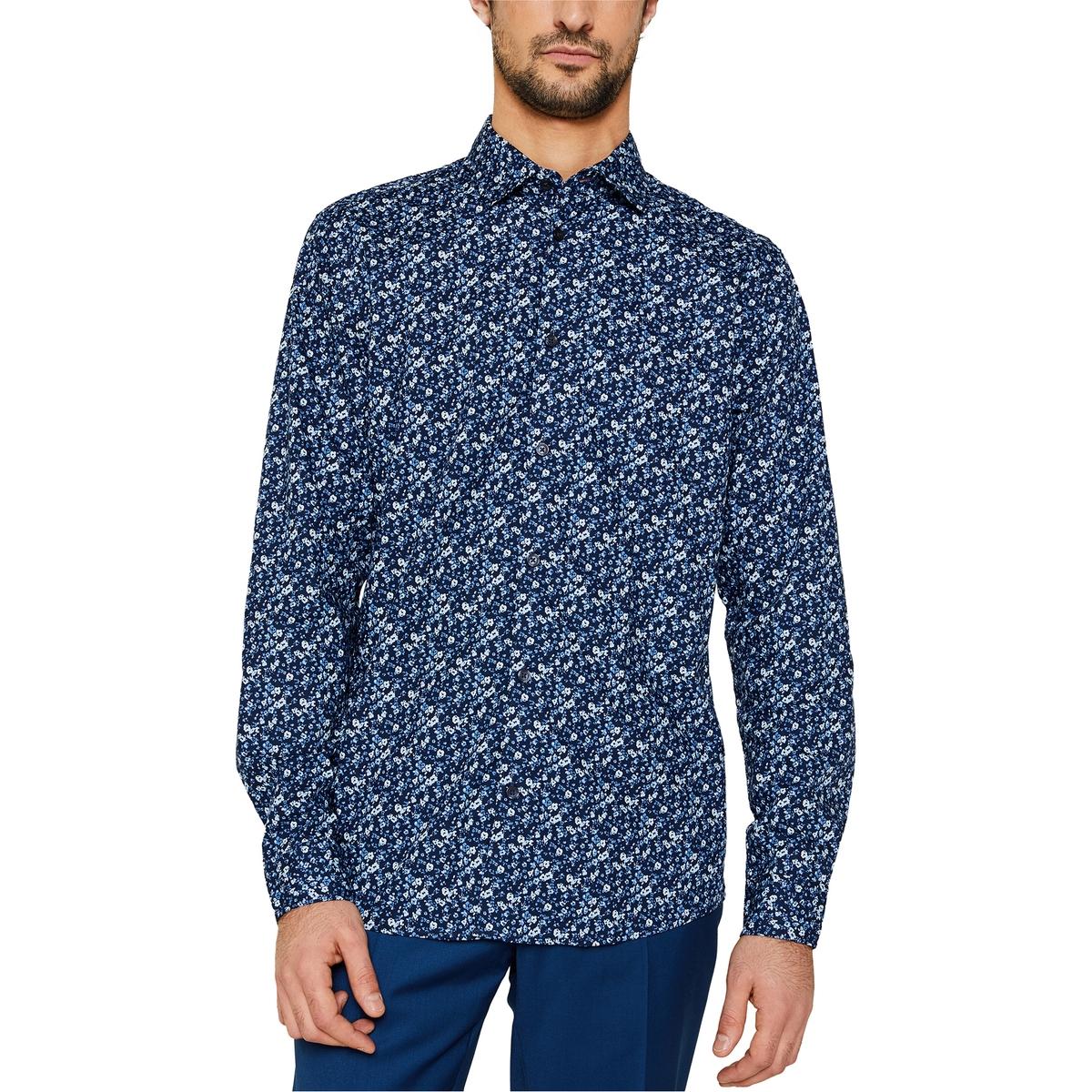 Camisa slim fit con estampado de flores