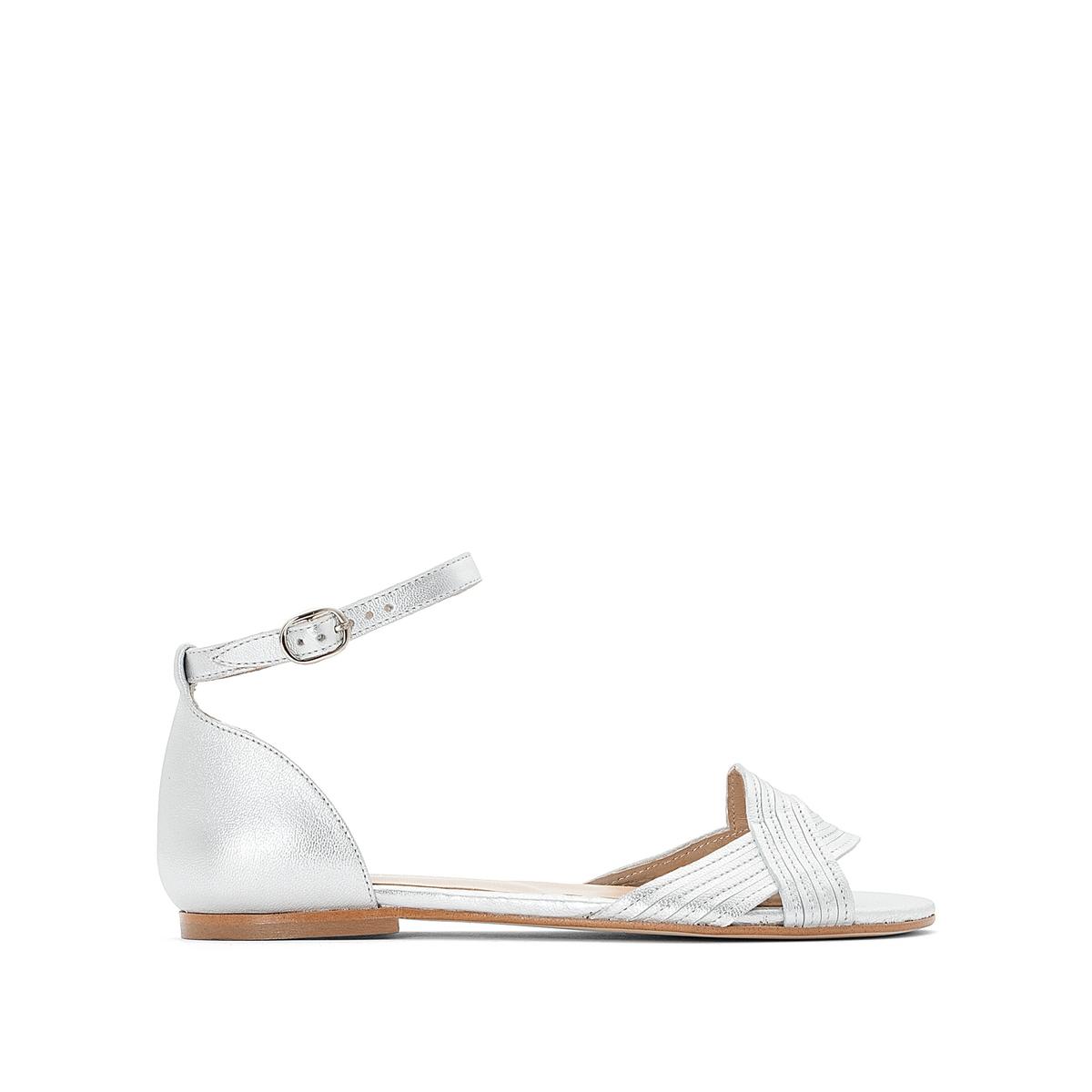 Босоножки кожаные на плоской подошве, Diaza женская обувь на плоской подошве 2015