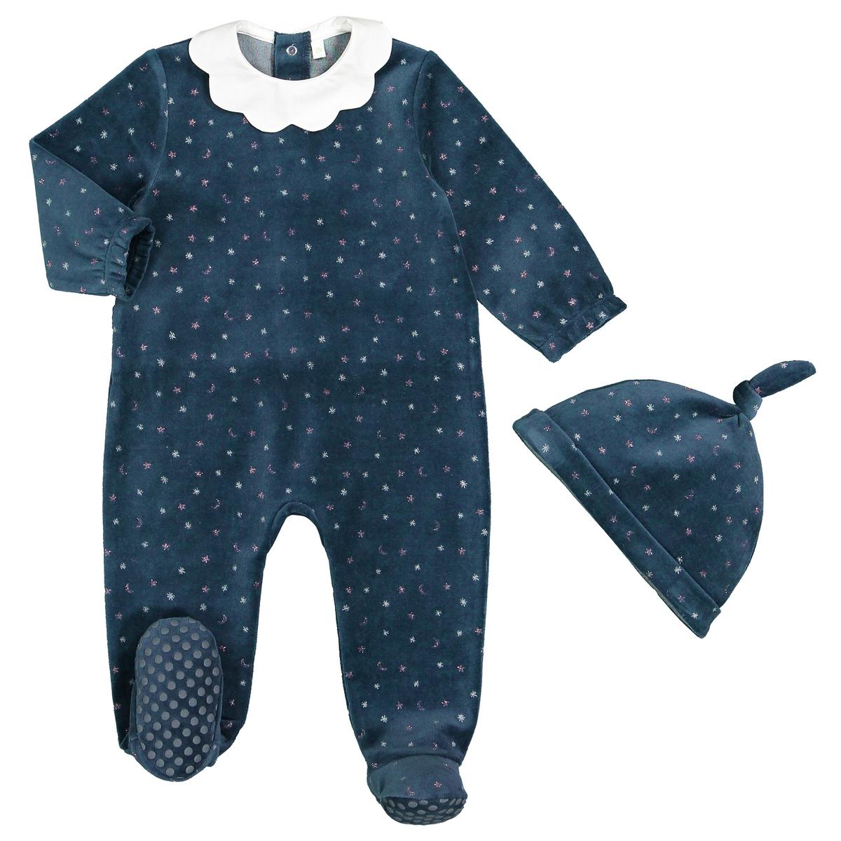 цена Комплект пижама и шапочка из La Redoute Велюра мес 3 года - 94 см синий онлайн в 2017 году