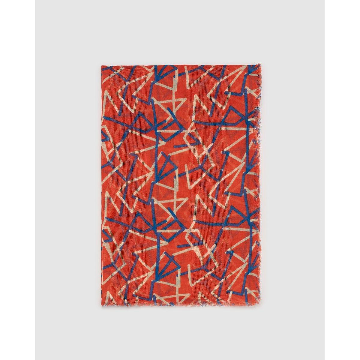 Foulard à imprimé géométrique contrastant