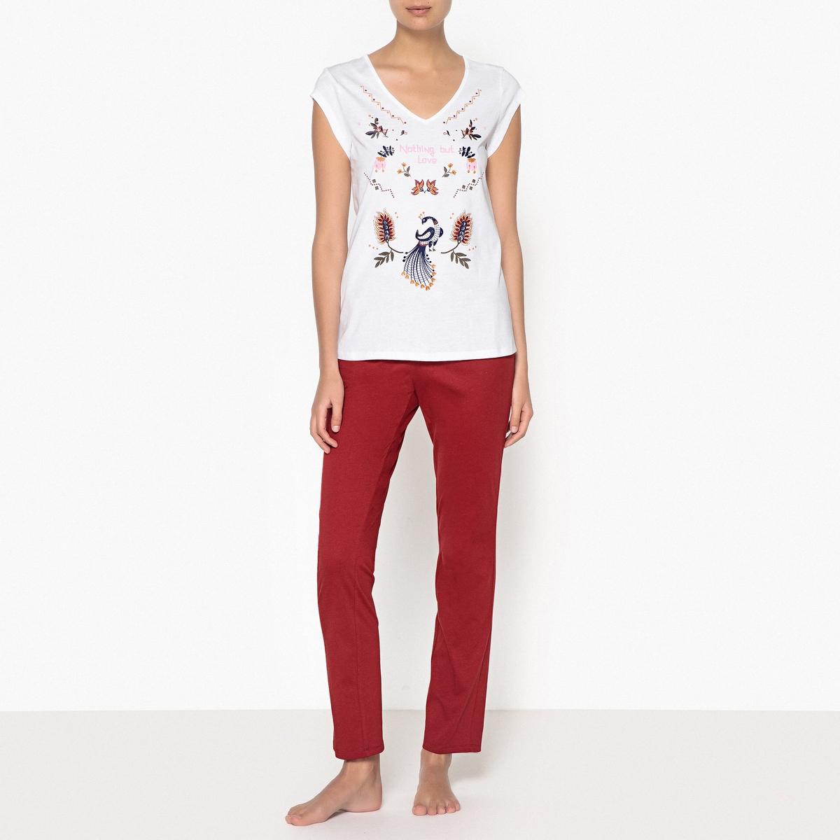 Pijama de algodón estampado
