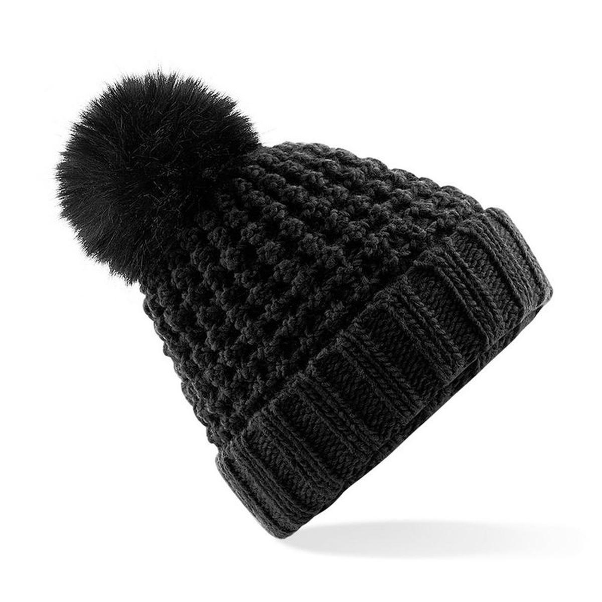 Popcorn bonnet à pompon imitation fourrure mixte