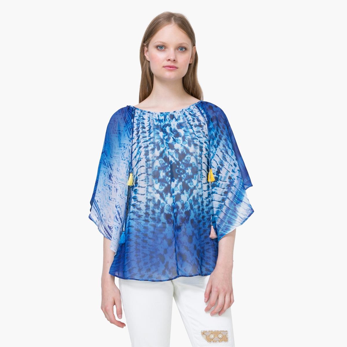Блузка объемная  с рисунком, рукава 3/4 блузки анна чапман блузка