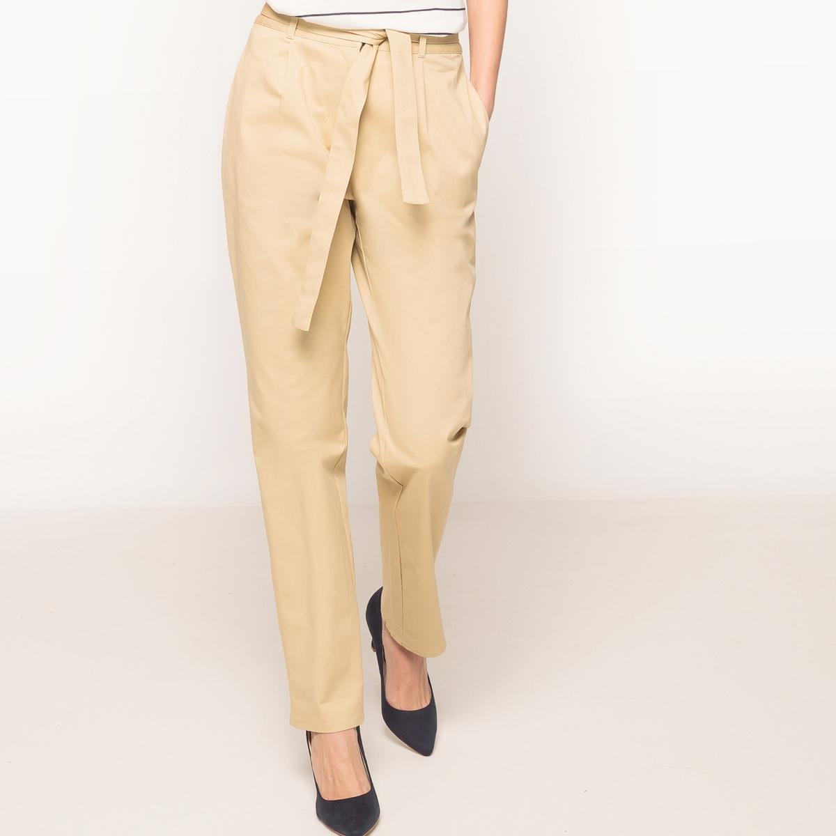 Фото Прямые брюки с поясом с завязками. Купить с доставкой