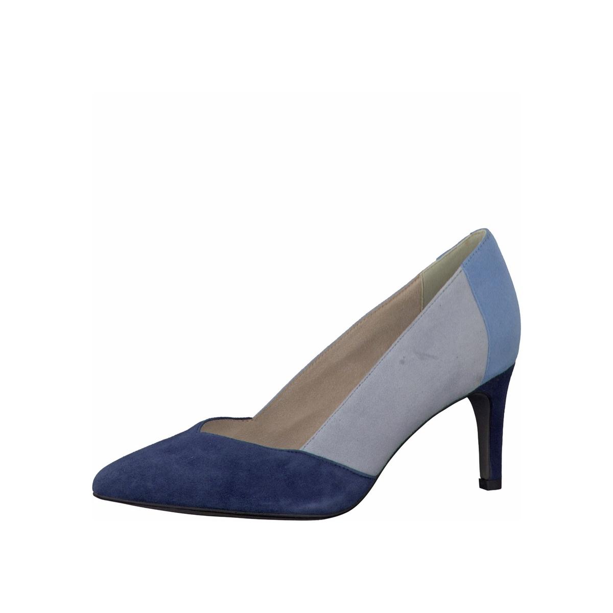 Туфли 22424-28Верх: кожа и текстиль.Подкладка: текстиль и синтетика.Стелька: синтетика.Подошва: синтетика.Высота каблука: 6,5 см.Форма каблука: тонкий каблук.  Мысок: заостренный мысок.Застежка: без застежки.<br><br>Цвет: синий морской<br>Размер: 37