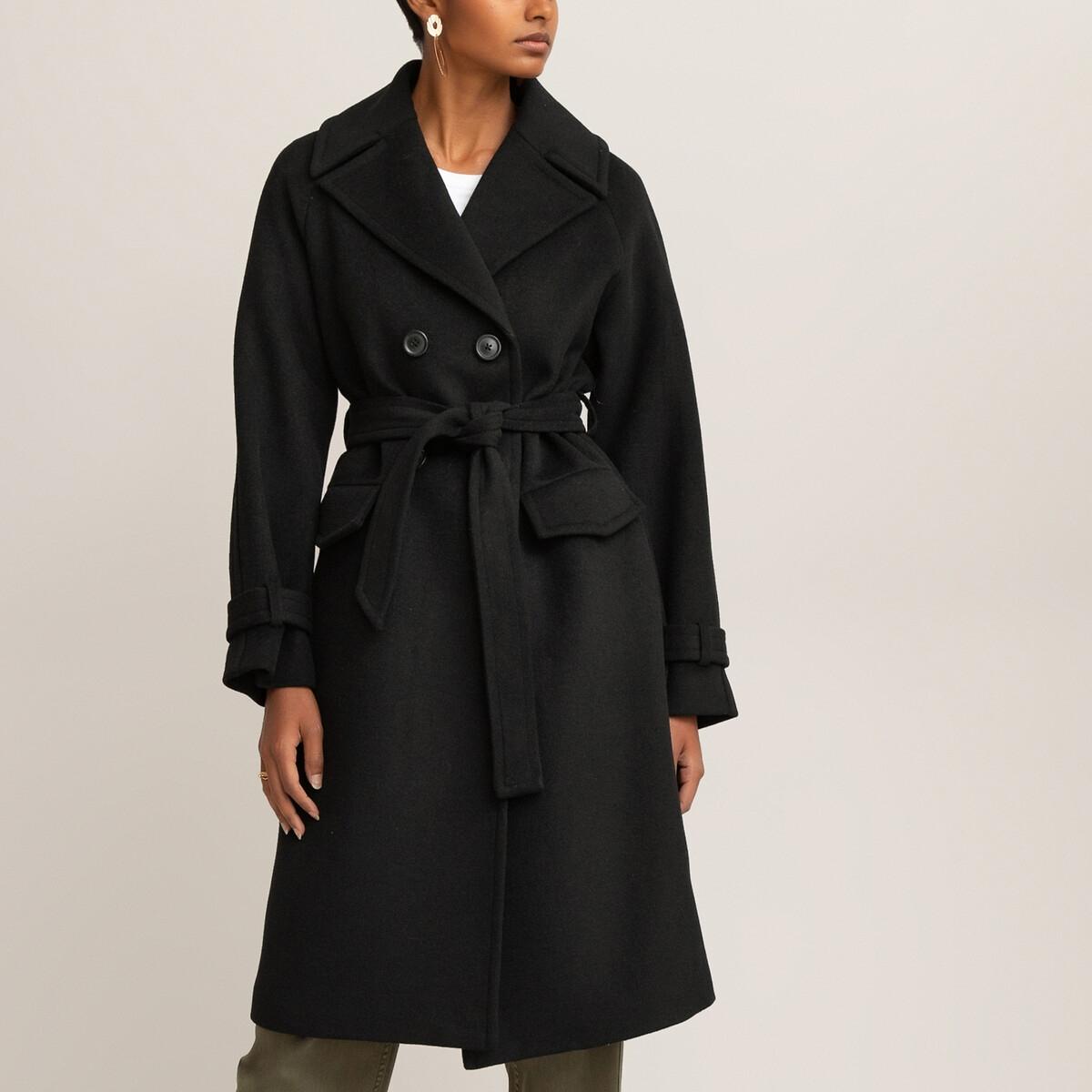 Пальто-пеньюар LaRedoute — С двубортной застежкой 36 (FR) - 42 (RUS) черный